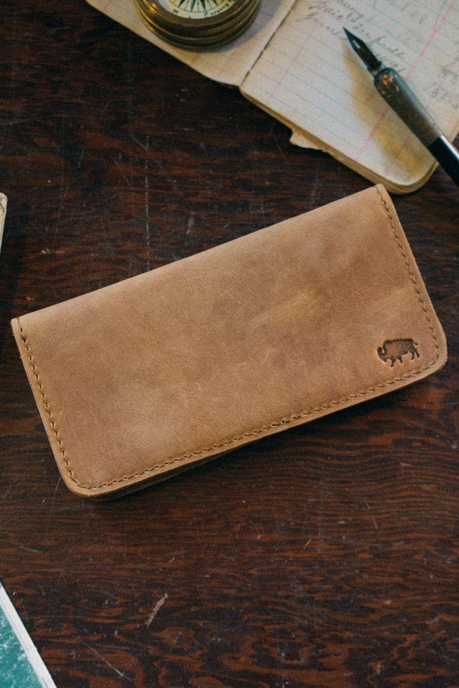 Denver Leather Checkbook Wallet - Whiskey Tan