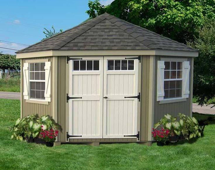 Amish 10 x 10 ft colonial five sided panelized storage for Corner garden shed designs