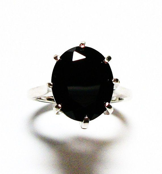 Black spinel ring black spinel  black cocktail by Michaelangelas, $89.50