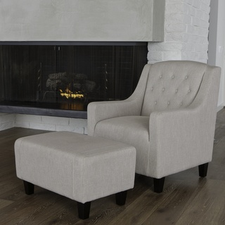 @Overstock.com - With its wide stance and overall soft padding, the Elaine Tufted Fabric Chair and Ottoman combines modern and classic elements to create one stunning set. The chair features dark espresso stained legs and tufted back.     http://www.overstock.com/Home-Garden/Christopher-Knight-Home-Elaine-Tufted-Natural-Fabric-Club-Chair-and-Ottoman/7292581/product.html?CID=214117 $329.99