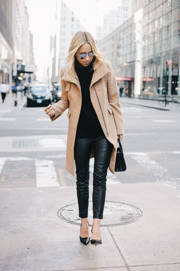 winter camel coat outfit: