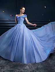Formal+Evening+Dress+-+Ocean+Blue+Plus+Sizes+/+Petite+Ball+Gown+Off-the-shoulder+Cathedral+Train+Organza+–+USD+$+249.99