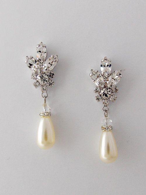 022ce930aabf5 Wedding Crystal Pearl Earrings - EVE   pearl drop earrings in 2019 ...