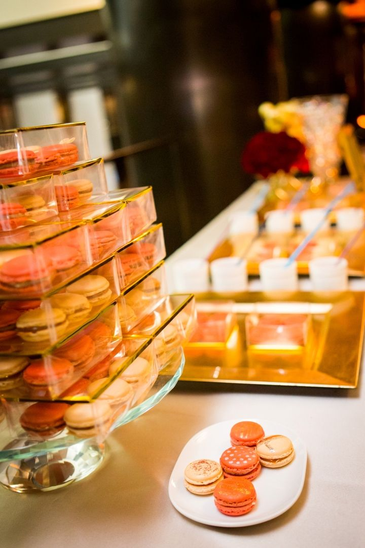 Delicious macarons decorated with edible gold foil made for a visually stunning holiday treat at Grand Hyatt New York. #LivingGrand