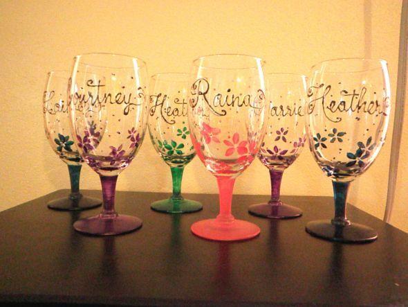 DIY Hand Painted Wine Glasses with Rhinestones