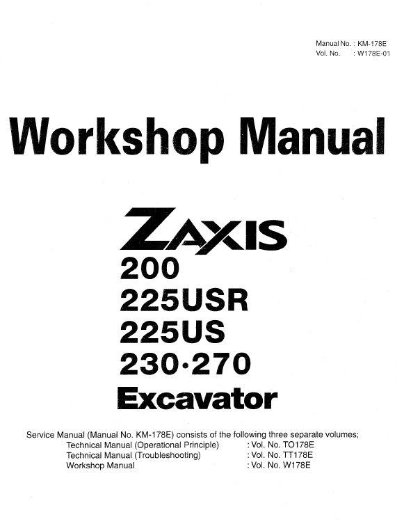 Hitachi ZX200, ZX225USR, ZX230 and ZX270 ZAXIS Excavator