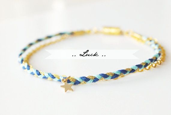 Tiny Star Luck Bracelet – Braided cotton bracelet & gold filled chain – Bijoux