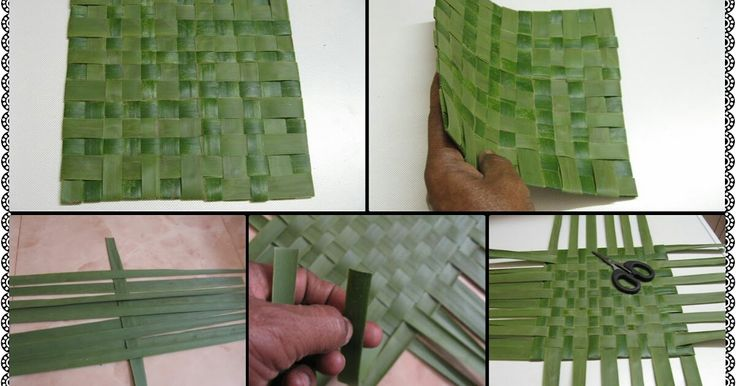 How to weave a small mat from coconut leaves