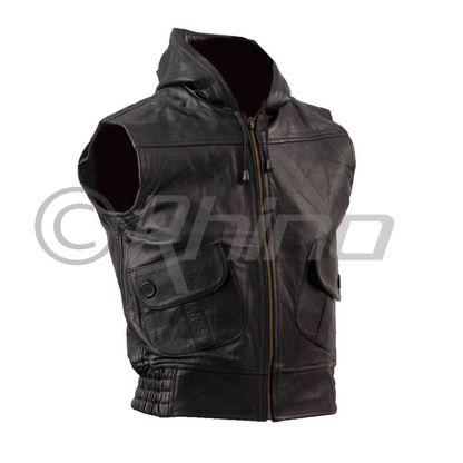 Womens Nappa Leather Zippered Waistcoat with Hood