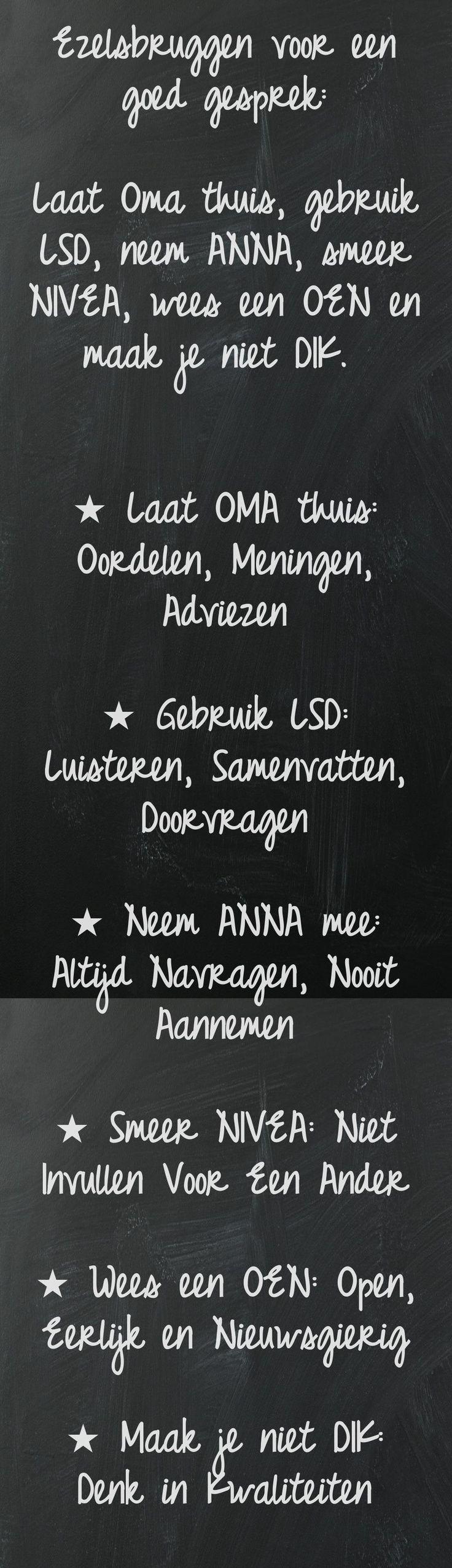 Ezelsbruggen voor een goed gesprek. www.jansentraining.nl.