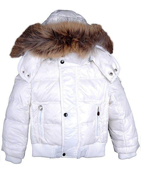 Moncler Kid Fur Collar Down Jacket White [2900277] - £133.59 :