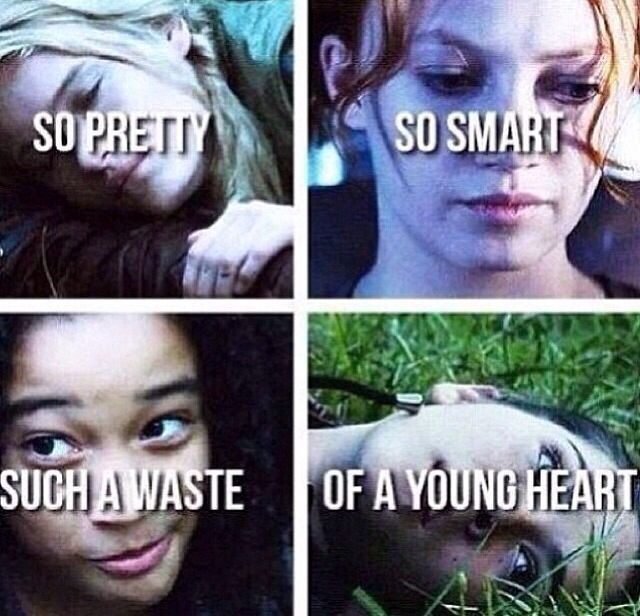 So pretty, so smart, such a waste of a young heart. This is what happens in the Hunger Games. I cried when Rue, Foxface and Clove died. I teared up when Glimmer died..