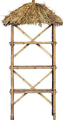 Tiki Hut Thatch Palapa Bamboo 3 Shelf Shelves Display
