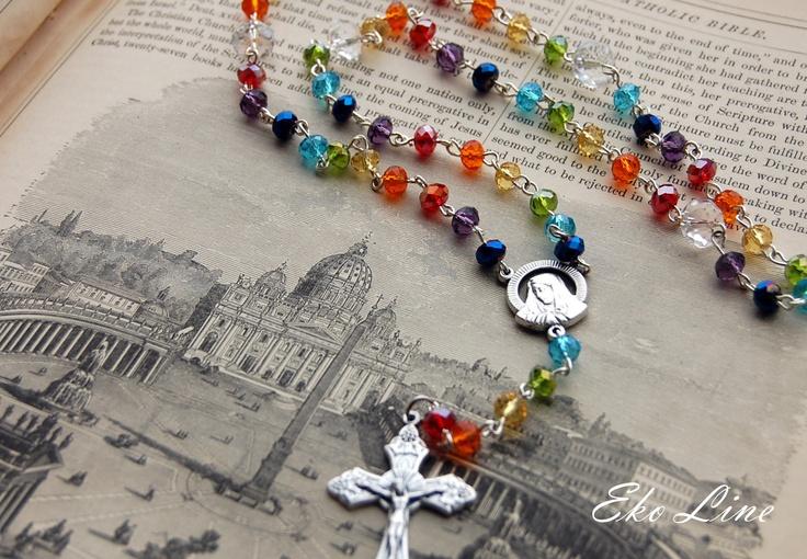 Catholic Rosary Handmade. Crystal Rosary. Rainbow Rosary. Chakra Rosary.. $49.90, via Etsy.