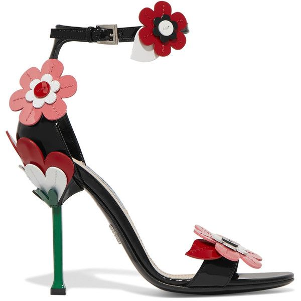 Prada Floral-appliquéd patent-leather sandals (£450) ❤ liked on Polyvore featuring shoes, sandals, heels, high heels, flower print shoes, multi color sandals, high heels sandals, strap heel sandals and flower sandals