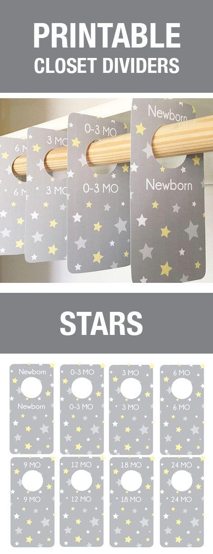 Trennkarten für den Kleiderschrank des Babys als Printable zur Organisiation