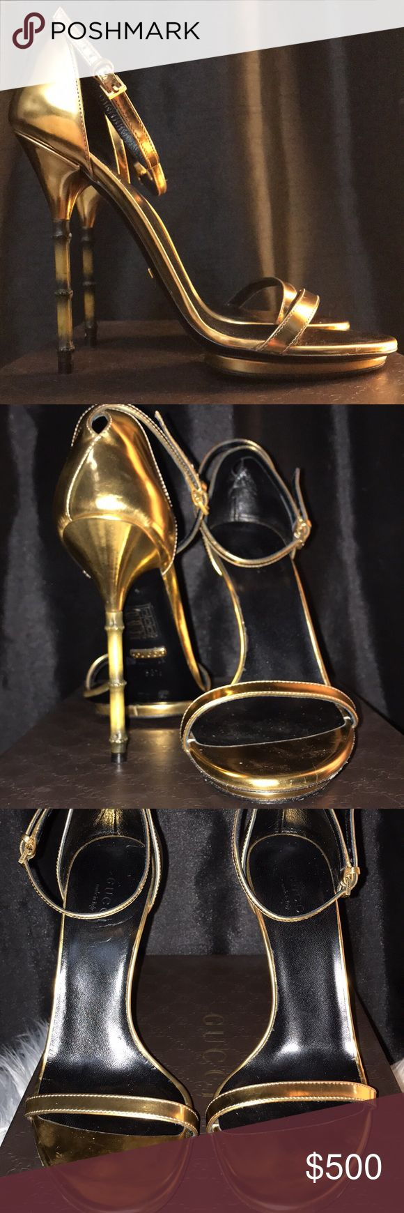 """Gucci bamboo heels *GUARANTEED 100% AUTHENTIC* NONE of my items are """"knock offs"""" so please do not send me ridiculous low prices.  Gucci bamboo heels  Worn once, good as new Size 38.5 Comes with box, dust bag and heel replacements Gucci Shoes Heels"""