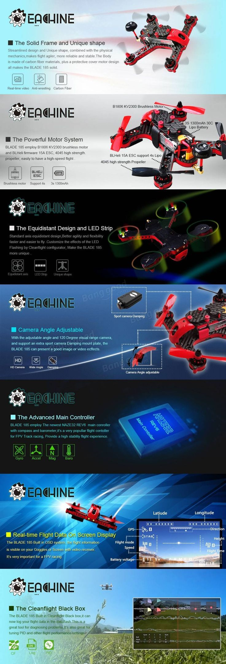 40 best                                      images on Pinterest   Drone diy  Drones and     Eachine Blade 185 FPV Racing Drone with Mini NZ GPS OSD 5 8G 40CH HD Camera