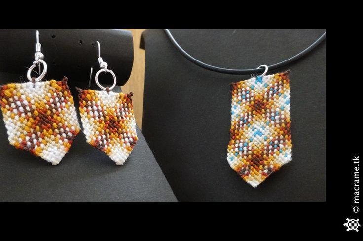 Macrame cross necklace and earrings set  Parure di orecchini e collana in macrame con disegno a croce