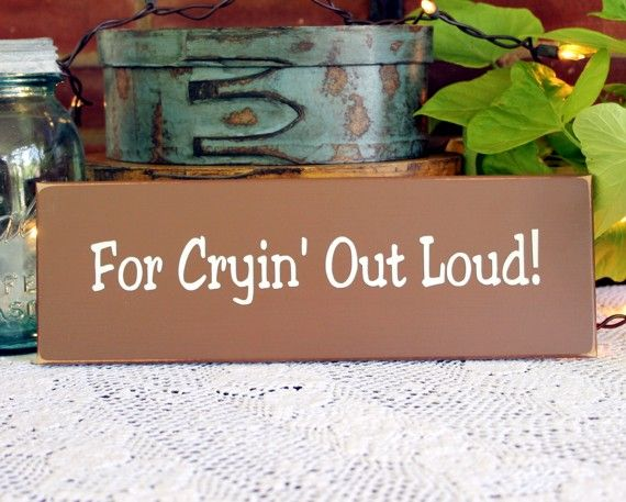 """For Cryin' Out Loud Southern saying wood sign - I'm a Northener and it's surprising the number of """"Southern"""" expressions that I've known all my life!  Great!!"""