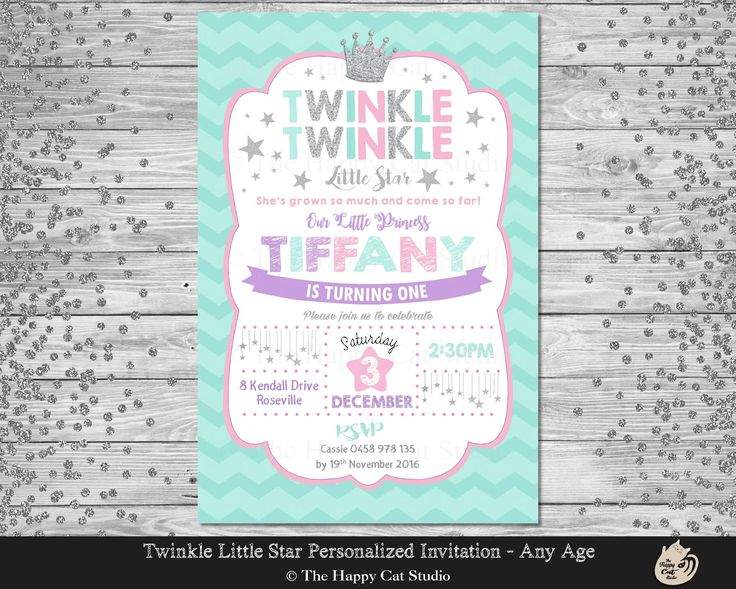 Twinkle Little Star Invitation, Princess Invite,  Personalized, Printable, 1st Birthday Party, Digital Download File, Silver Stars, Crown by thehappycatstudio on Etsy