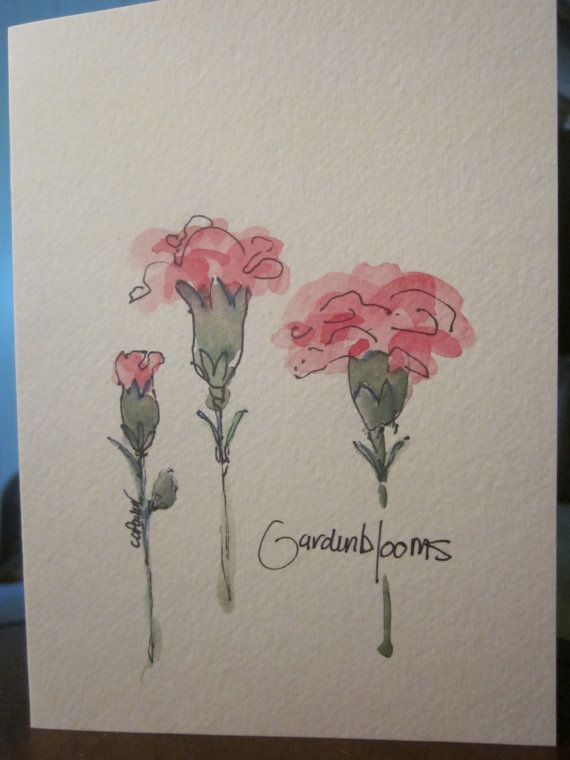 More Carnations Watercolor Card by gardenblooms on Etsy
