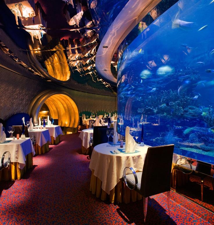 Restaurant in the Burj Al Arab hotel. Dubai