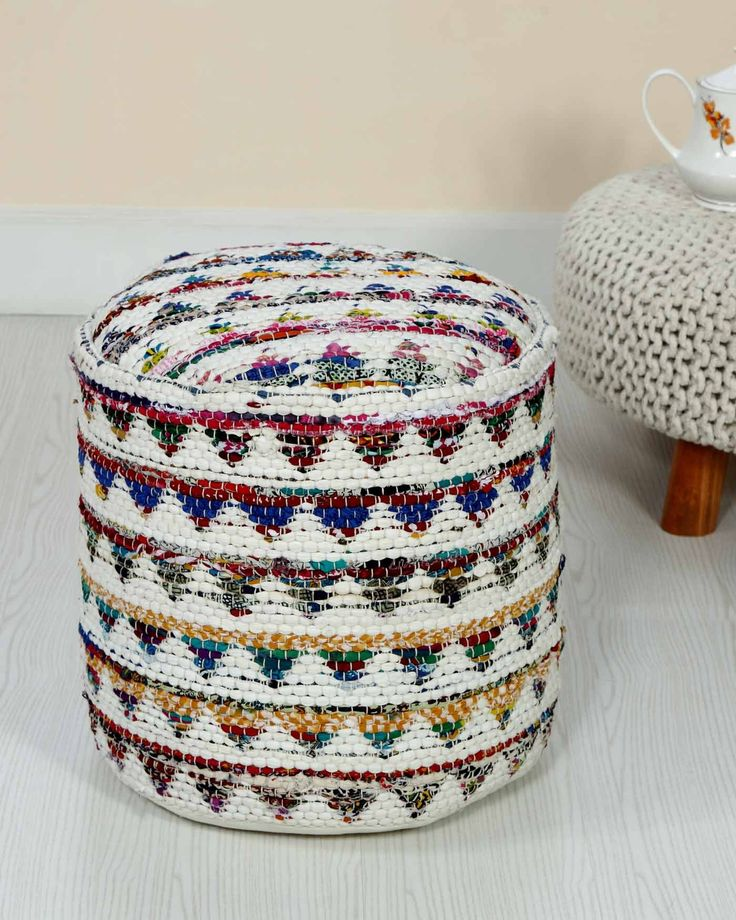 Cream Chindi Pattern Woven Bean Filled Pouffe Circular 45 x 40 cm - Homescapes