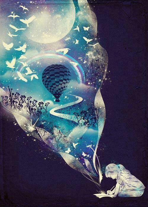 .a girl writing a story about a magical world of birds, rainbows, hot air balloons, the moon, swirls of pink and purple