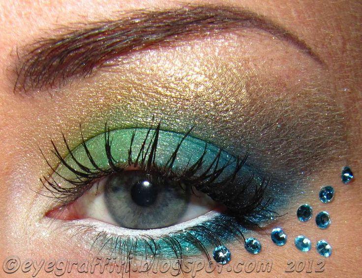 mermaid eye makeup    Love  the eye makeup colors and the eyebrow
