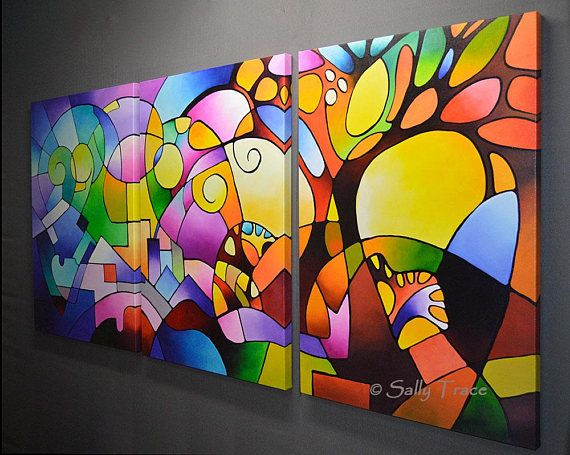 Triptiek van de abstracte kunst giclee prints van mijn