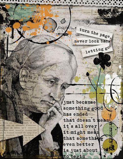 Scrap Art Studio Gallery - Art Journaling - Rosek's - Turn The Page - collage book.