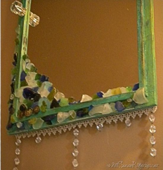 Cute way to DIY an old mirrorVintage Mirrors, Crafts Ideas, Embellishments Mirrors, Neat Crafts, Antiques Mirrors, Diy Mirrors, Craft Ideas, Sea Glasses, Mirrors Crafts