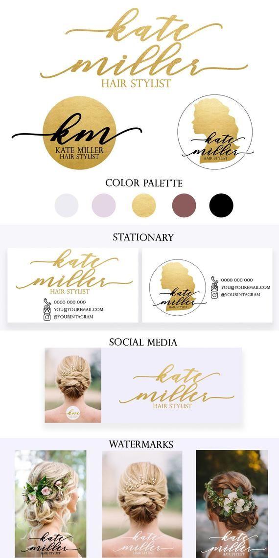 Hair Stylist Logo, Gold Hair Stylist Logo Template,Premade Logo