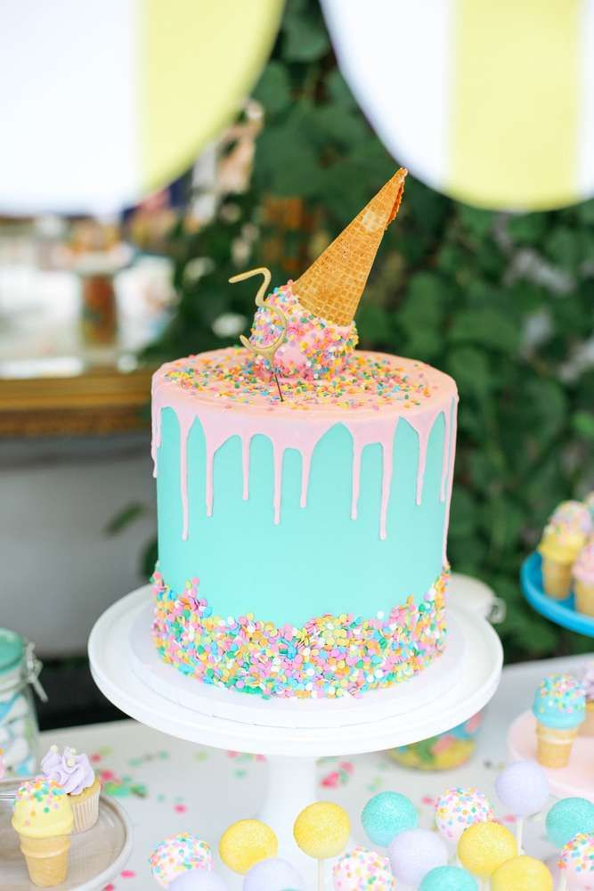 What a stunning cake at a ice cream birthday party! See more party ideas at CatchMyParty.com!