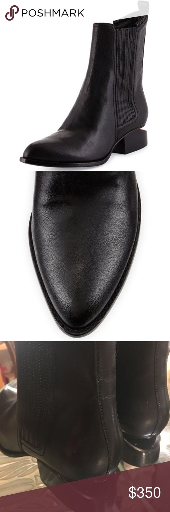 """Alexander Wang Chelsea """"100% GENUINE CALF LEATHER ANOUCK CLASSIC CHELSEA BOOT IN SMOOTH BLACK LEATHER WITH SIDE ELASTIC GORES AND TOP STITCH DETAIL. SIGNATURE CUT OUT HEEL WITH RHODIUM METAL BLACK PLATE. WRAPPED LEATHER STACKED HEEL AND BUFF LEATHER OUTSOLE. THIS ITEM RUNS SMALL. WE RECOMMEND A HALF SIZE UP."""" -Alexander Wang official website   HEEL HEIGHT: 1.6"""" (40MM) no box included Alexander Wang Shoes Ankle Boots & Booties"""