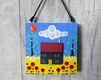 Little House,Door hanger,Folk art,housewarming gift,New Home gift,Christmas gift for her,Stocking filler for her,Girls gift,Home art