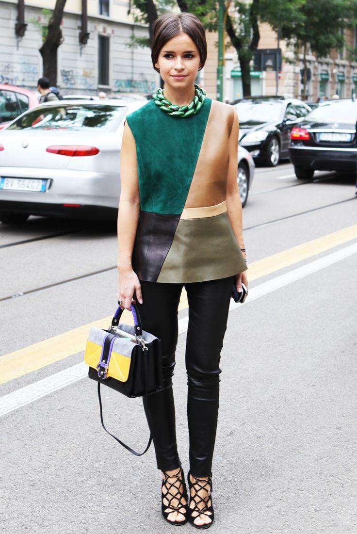 Style crush: Miroslava Duma - fake leather blog
