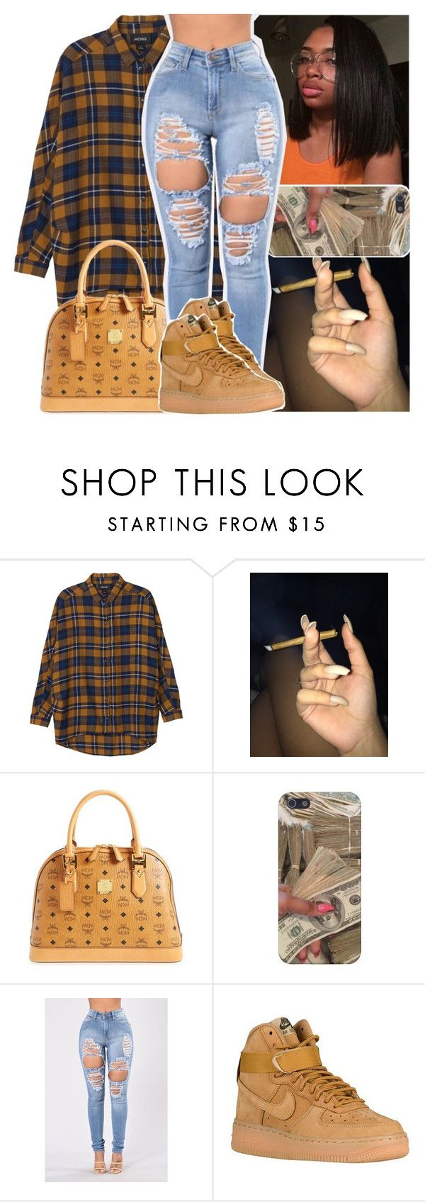 """faaves"" by daeethakidd ❤ liked on Polyvore featuring Monki, MCM and NIKE"