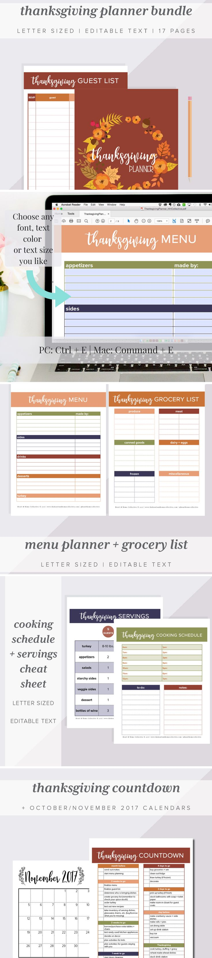 This printable Thanksgiving planner bundle has everything you need to pull off Thanksgiving day + dinner with ease! This Thanksgiving planner includes 19 printable pages to help you organize a fantastic Thanksgiving dinner, including a guest list, menu planner, shopping list, cooking schedule and much more!