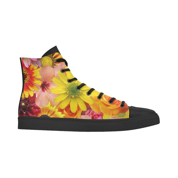 Orange flowers_ Gloria Sanchez1 Andromeda High Top Action Leather Women's Shoes (Model 305)