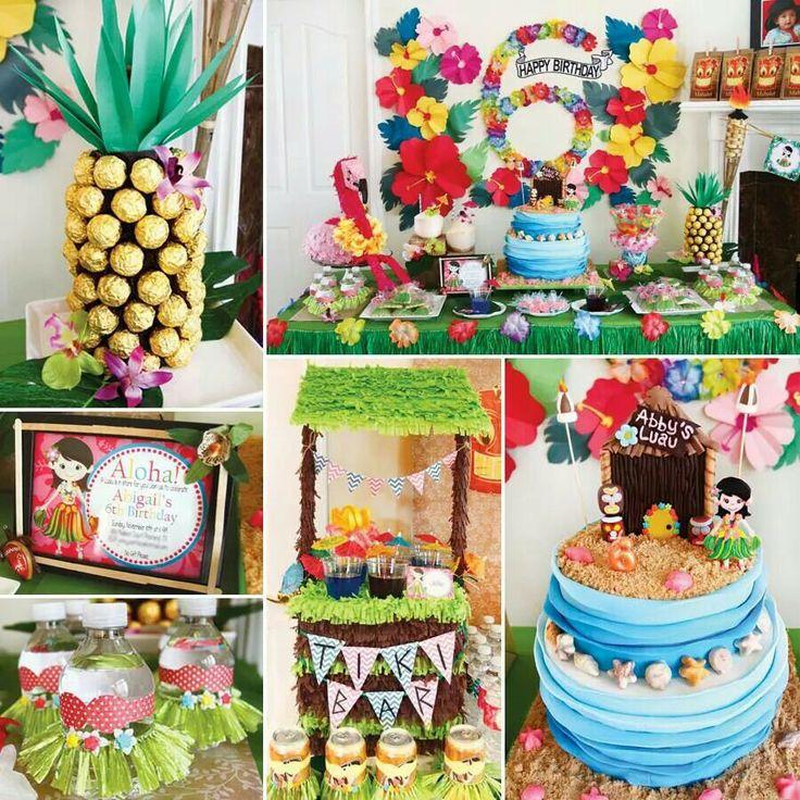 hula party. Little Hawaiian girl and tiki bar. Cute ...