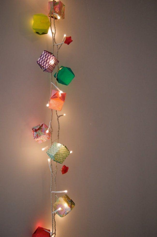 Good Lichterkette basteln papier bunt origami selber machen kinderzimmer