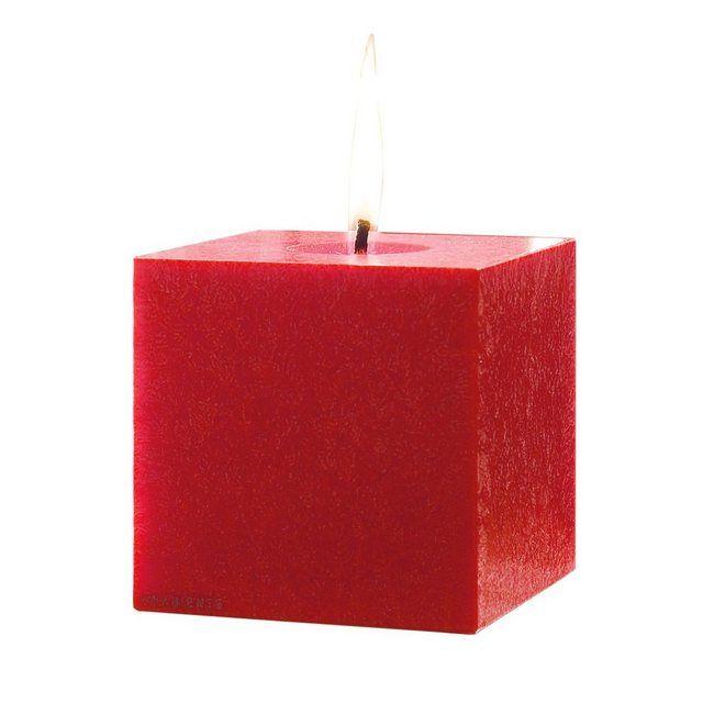 Kerze Kubus Feuerrot 12 Cm Stumpenkerzen Kerzen Und Rot