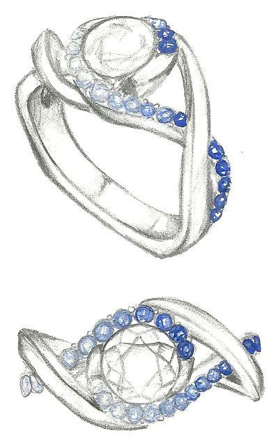 Mark Schneider Design Sketch Of Scintillate Engagement Ring
