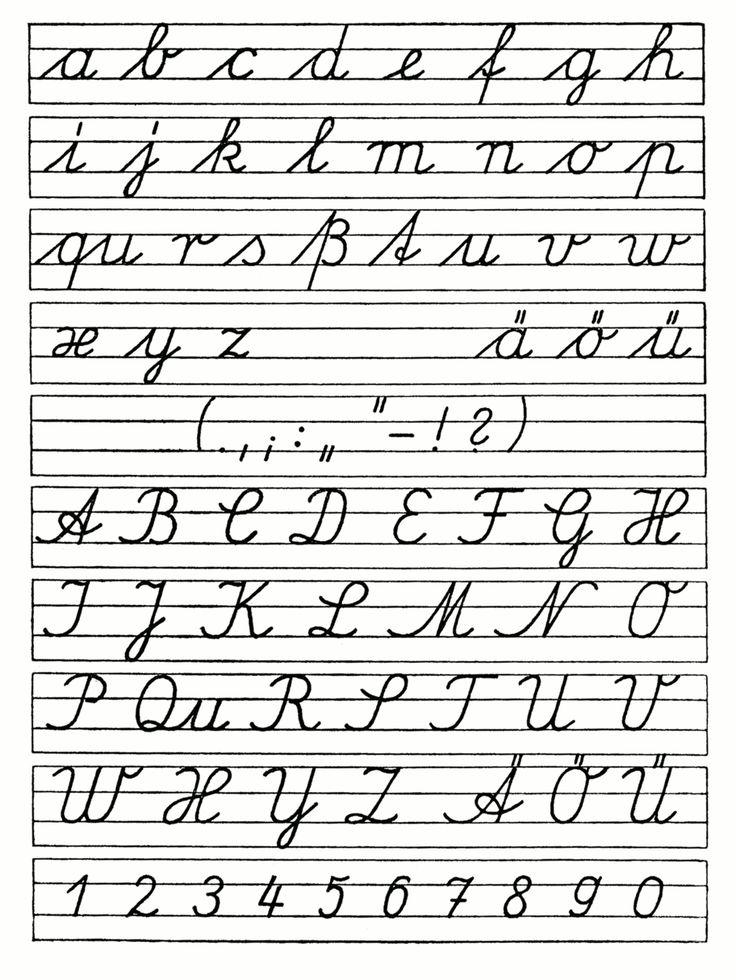 Ausgangsschrift der DDR 1958 Deutsches Alphabet