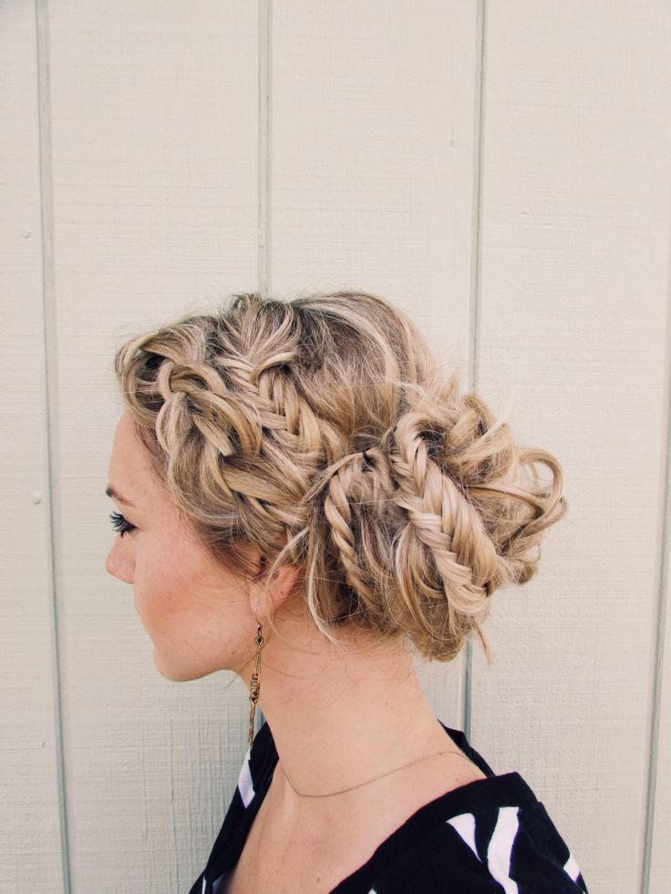 Dutch braid and fishtail messy bun
