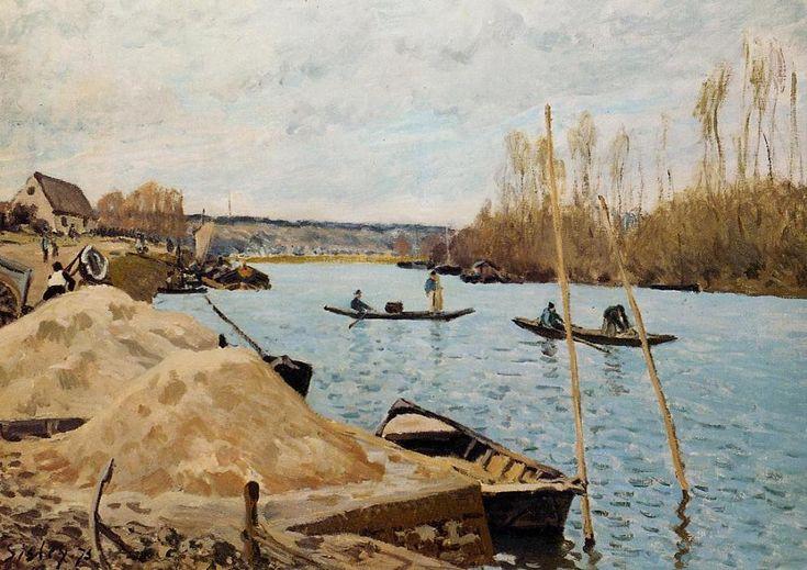 'Sand Heaps', öl von Alfred Sisley (1839-1899, France)