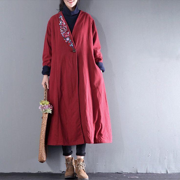 Embroidered Plain Long Linen Coat