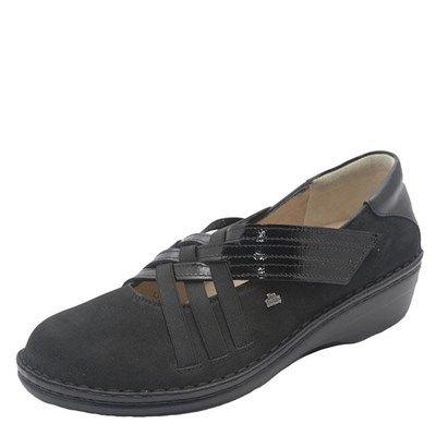 Finn Comfort Evanston Nubuck Soft Footbed Black Shoe